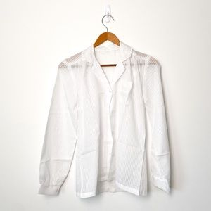 Vintage White Button Up Sheer Lace Blouse